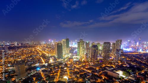 Photo  Eleveted, Night view of Rockwell, View from P Burgos Makati in Metro Manila, Phi