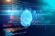 canvas print picture - Fingerprint Scanning on blue technology  Illustration