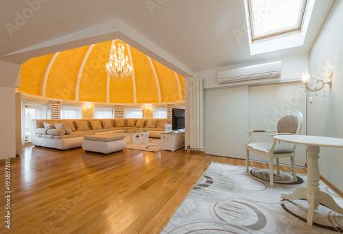 Fotodibond 3D Wnętrze luksusowej willi apartament kopuła, pokój dzienny, kopułą sufitu, otwarty plan