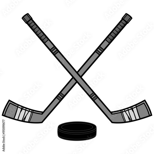 Hockey Sticks and Puck Illustration - A vector cartoon illustration of a couple of Hockey Sticks and a Puck Canvas Print
