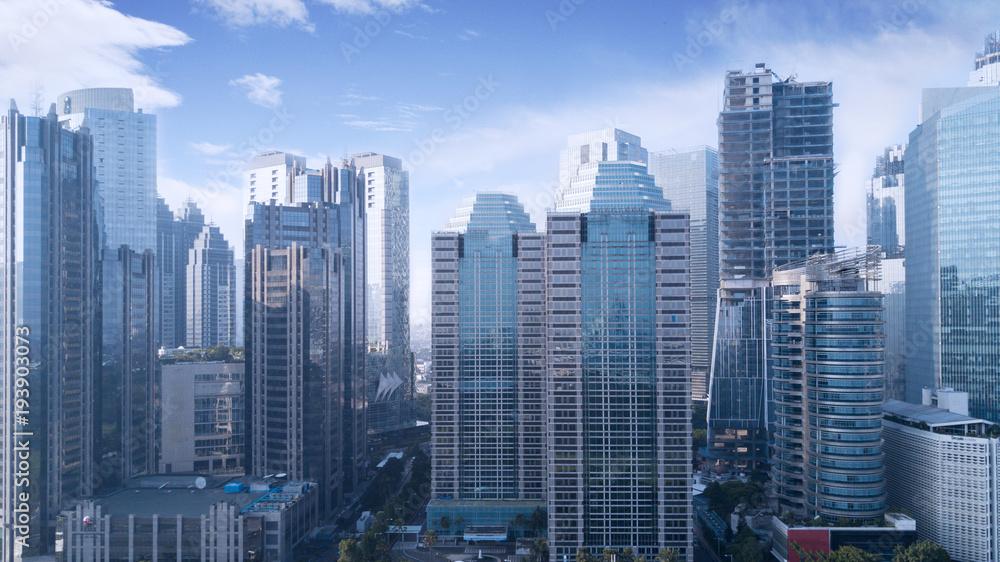 Fototapety, obrazy: Beautiful office buildings under blue sky
