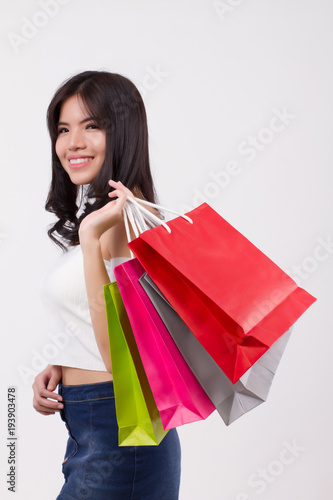 3af33fabfa9da happy smiling girl shopping, excited woman holding shopping bag isolated,  smiling girl happy woman