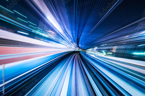 Obraz Business concept - high speed abstract MRT track of motion light for background in tokyo, japan - fototapety do salonu