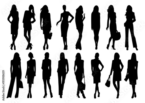 Obraz silhouette of women fashion - fototapety do salonu