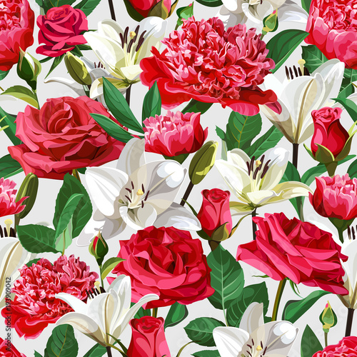 Seamless floral pattern on light background. Roses, Peonies and Lilium.