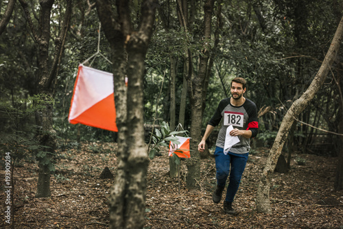 Foto  Outdoor orienteering check point activity