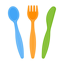 Vector Illustration Of Plastic Spoon, Fork And Knife Isolated On White Background. Disposable Utensils In Bright Colors For Toddler Feeding, Party Or Picnic.