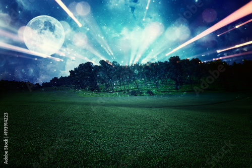 Poster UFO Surreal fantasy concept - full moon with stars glitter in night skies background.