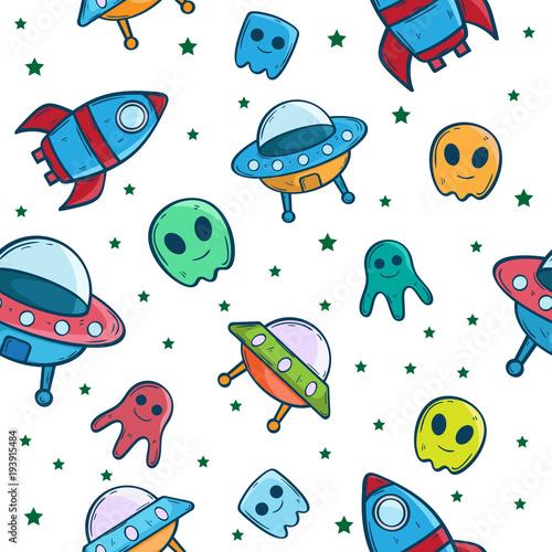 Poster Cartoon draw spaceship ufo cartoon seamless pattern