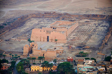 Aerial View Of Luxor City And The Temple Of Habu For Ramses The Third, Medinet Habu, Luxor
