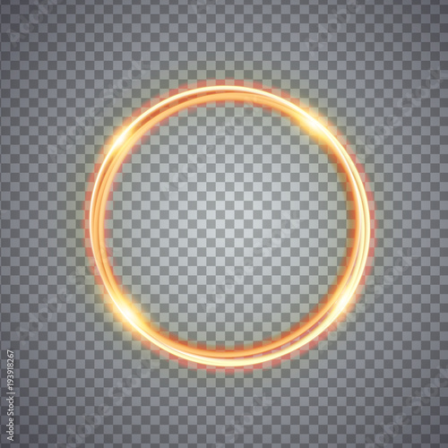 Fototapeta Magic gold circle light effect. Illustration isolated on background. Graphic concept for your design obraz na płótnie