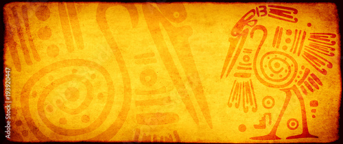 Stampa su Tela Grunge background with American Indian traditional patterns