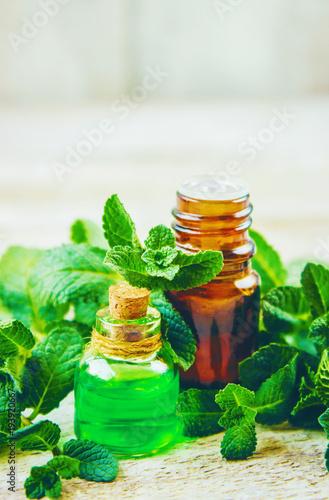 Fotografie, Obraz  Mint extract. Medicinal plants. Selective focus.