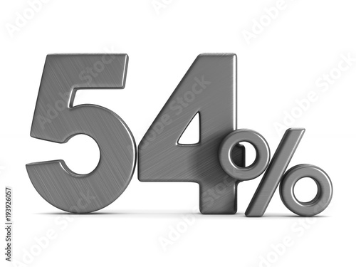 Fotografia  fifty four percent on white background. Isolated 3D illustration