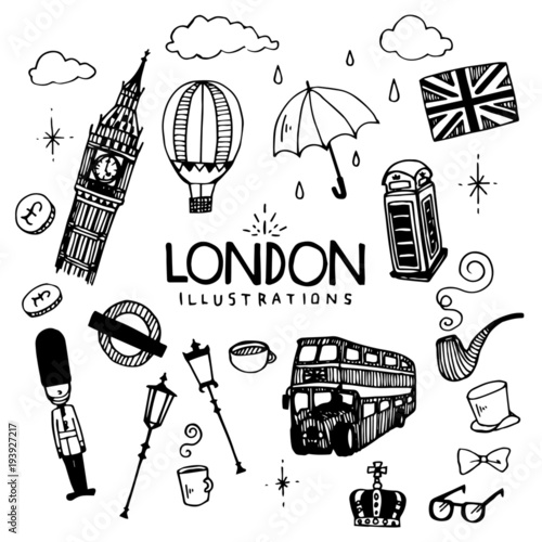 Fototapeta London Illustration Pack obraz
