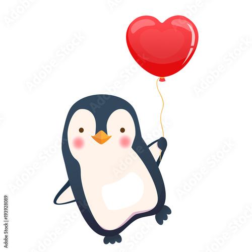 Carta da parati penguin holding balloon