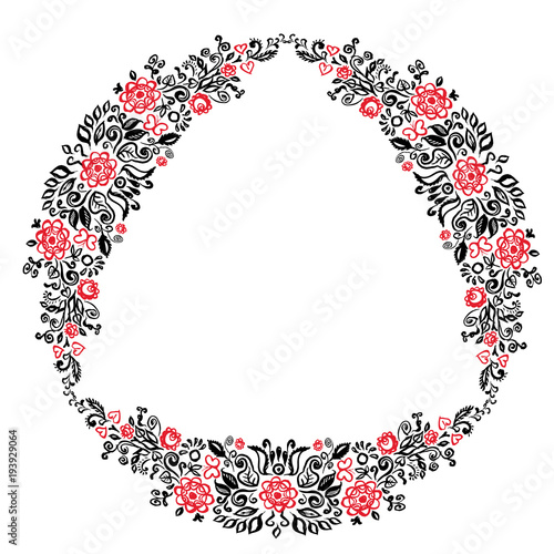 Fotografija  Beautiful card with a round summer wreath of different flowers folk art floral ornament Vintage elegant wedding invitation Red Black isolated on white background