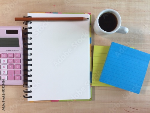 Photo  paper for  business plan with copy space on working date, business planing conce