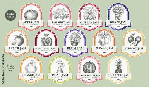 Obraz na płótnie Berry and fruit labels set