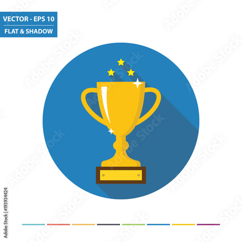 Fototapety, obrazy: Winner trophy flat icon with long shadow. Vector Illustration.