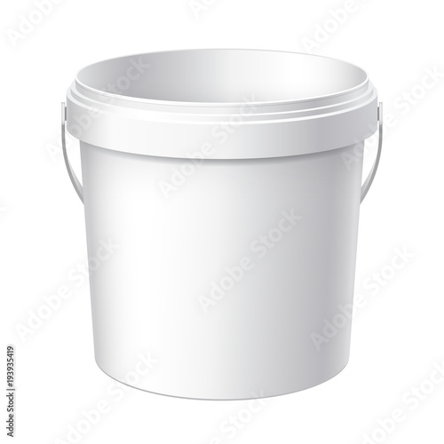 Small White plastic bucket. Wall mural