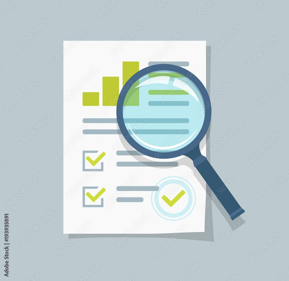 Fototapeta Sales growth report, analytics, investigation, boosted sales graph analytics data, research icon vector, analysis on paper sheet document via magnifier, statistics result with chart analyzing, audit