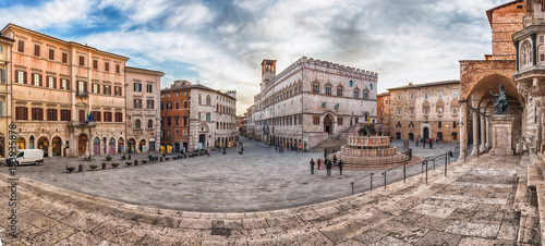 Panoramic view of Piazza IV Novembre, Perugia, Italy
