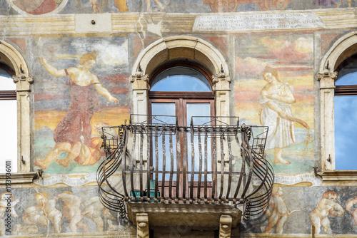Poster Artistique Frescoes on the Cazuffi-Rella houses in Duomo square. Trento, Trentino Alto Adige, Italy