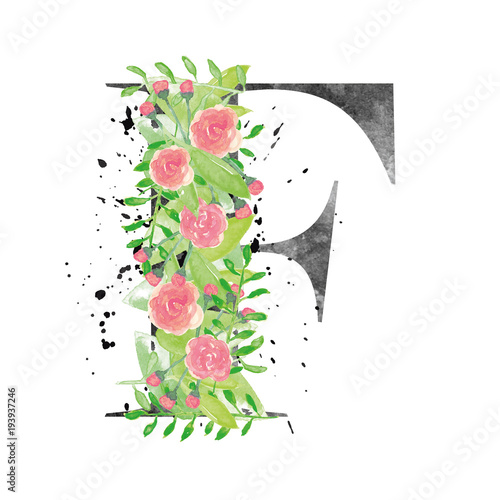Watercolor letter F with floral decoration - Buy this stock vector ... 5f6b76d7f60d