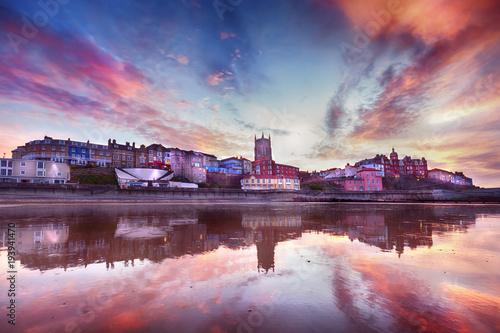Fototapeta  Skies ablaze in Cromer town Norfolk