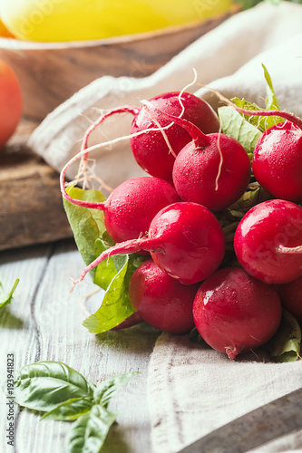Bunch of fresh radish on dark boards, closeup