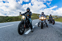 Motorcycle Drivers Riding In Alpine Highway, Nockalmstrasse, Austria, Europe.