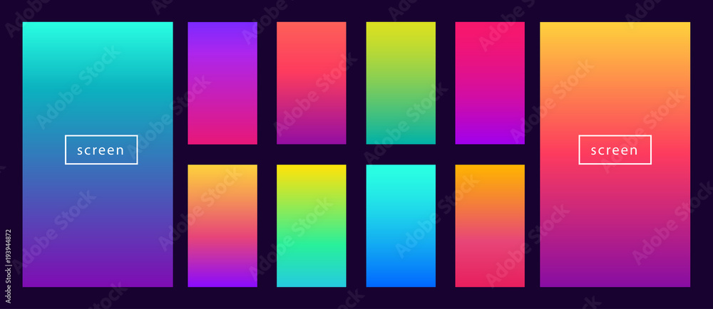 Fototapeta Soft color background on dark. Modern screen vector design for mobile app. Soft color abstract gradients.