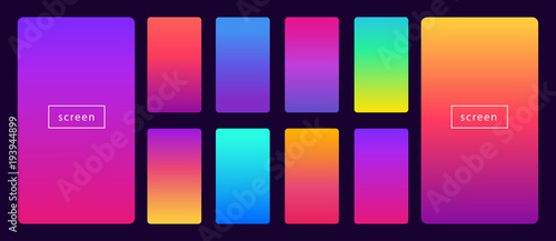 Obraz Soft color background on dark. Modern screen vector design for mobile app. Soft color abstract gradients. - fototapety do salonu