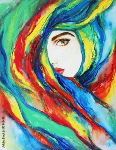 Foto op Canvas Aquarel Gezicht beautiful woman. fashion illustration. acrylic painting