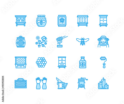 Beekeeping, apiculture flat line icons Canvas Print