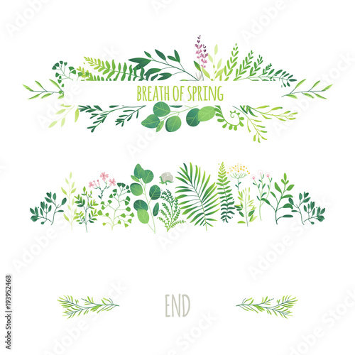 Spring Green Leaves And Flowers Background With Plants: Vector Cartoon Abstract Green Plants Flower Herbs Frame