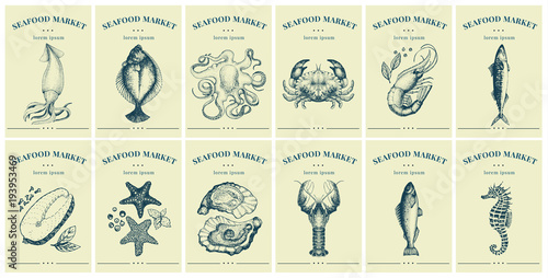 Fototapeta  Labels with seafood and fishes