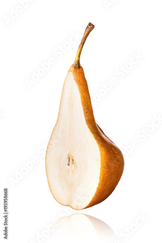 Half of Williams or Bartlett pear, slice, isolated on white background with drop shadow Canvas Print