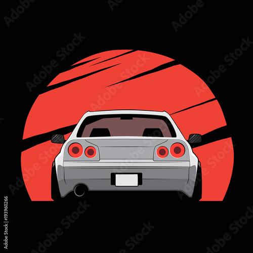 Plakat Cartoon japan tuned car on red sun background. Back view. Vector illustration