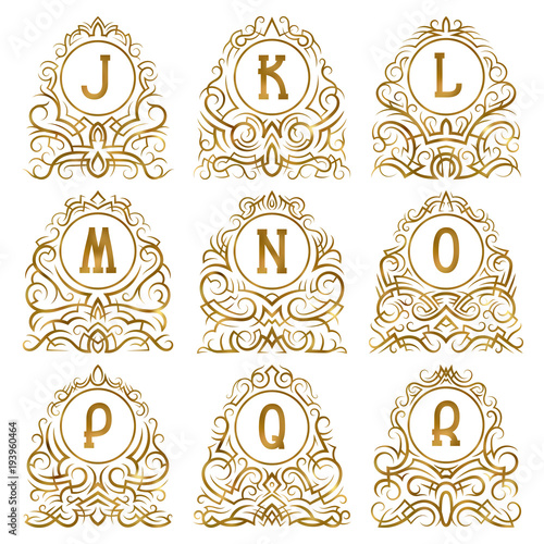 Golden vintage monograms of letters from J to R in patterned frames ...