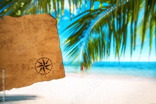 Foto op Plexiglas Caraïben Vintage map and tropical island, travel concept