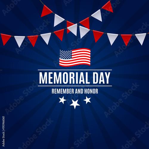Fotografie, Obraz  Memorial Day Background Template Vector Illustration