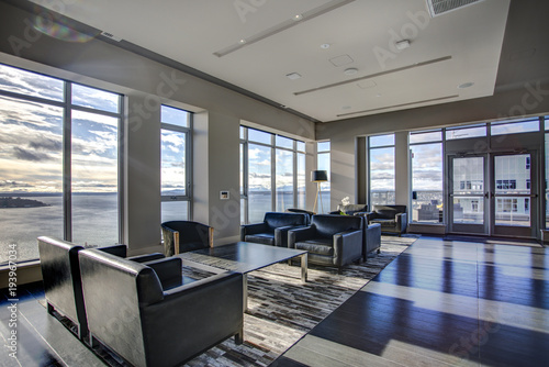фотография Light lounge area with view of Elliott Bay waters.
