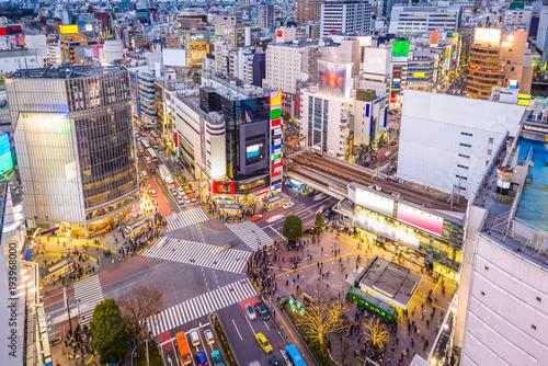 Poster Lieu connus d Asie Shibuya, Tokyo, Japan cityscape over the scramble crosswalk.