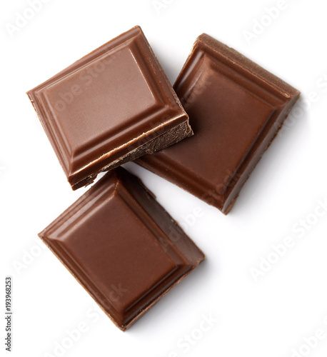 Three milk chocolate pieces