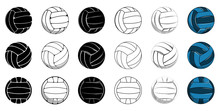 Set Volleyball Icon Contour Ba...