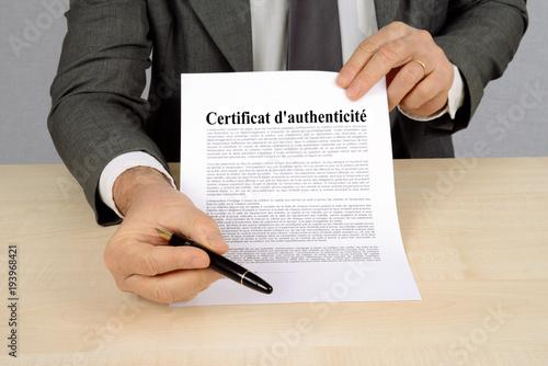 Photographie Certificat d'authenticité