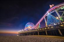Santa Monica Pier & Ferris Wheel At Night, Long Exposure, Los Angeles California