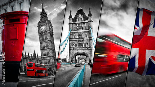 Poster Londres bus rouge Collage of the symbols of London, the UK